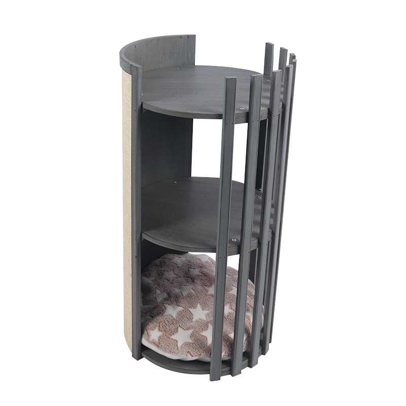Solid wood double deck cat nest with scratch board