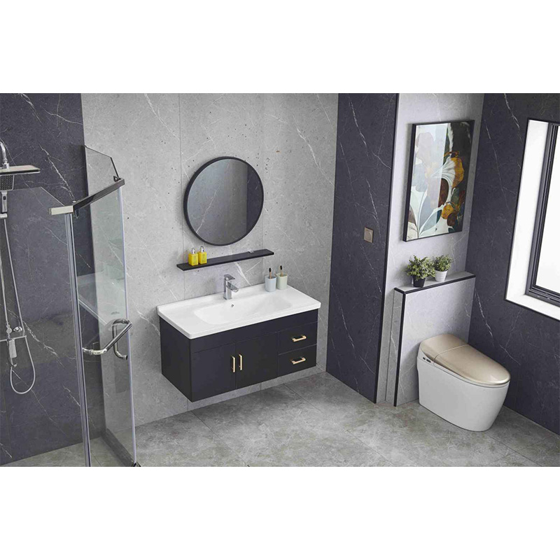 Plywood bathroom vanity with counter top basin