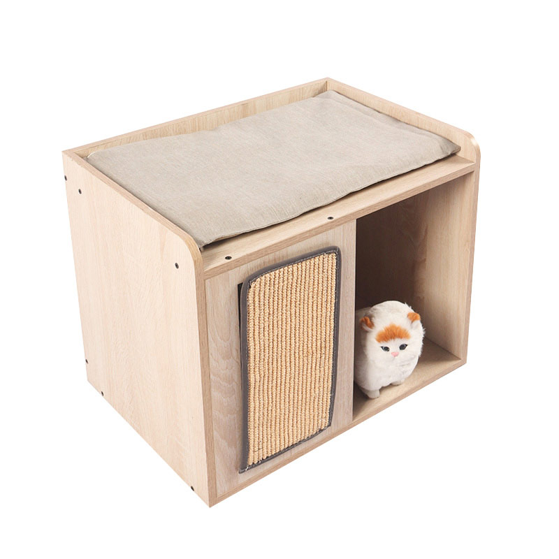 Double deck cat cabinet with sisal mat pet supplies