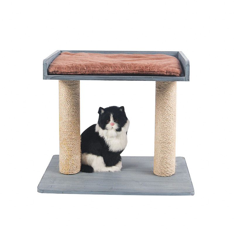 Solid wood double deck cat climbing frame