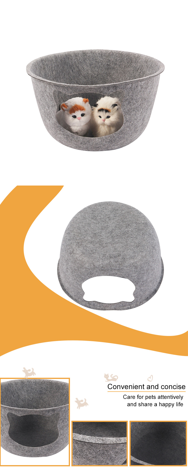 Cat nest in the shape of a felt bowl pet product