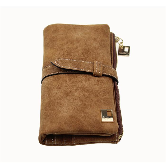 Nubuck Leather Zipper Suede Wallet