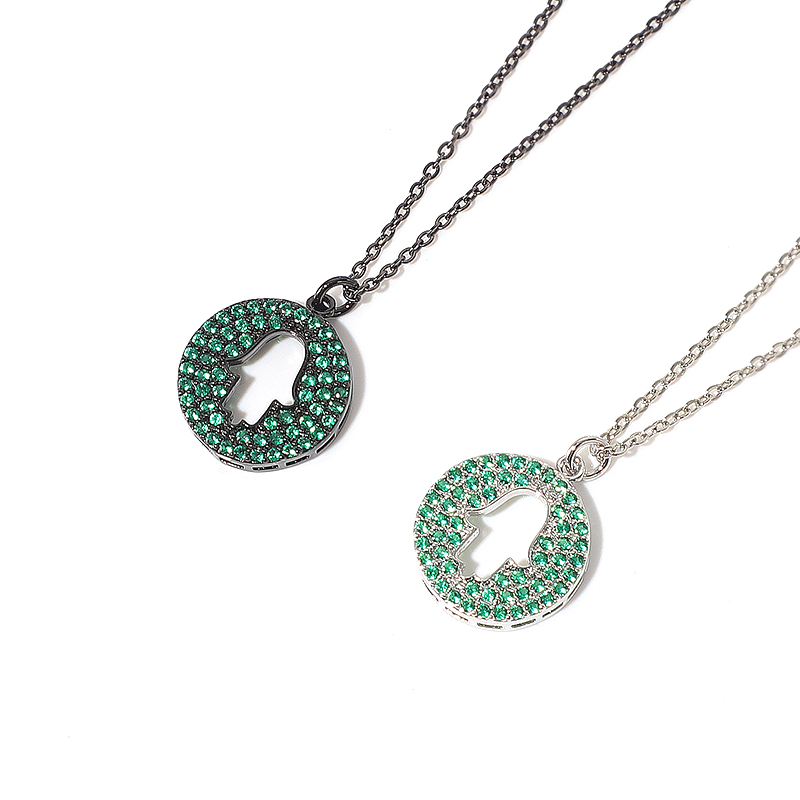Inlaid Round Hollow Shaped Pendants Necklaces
