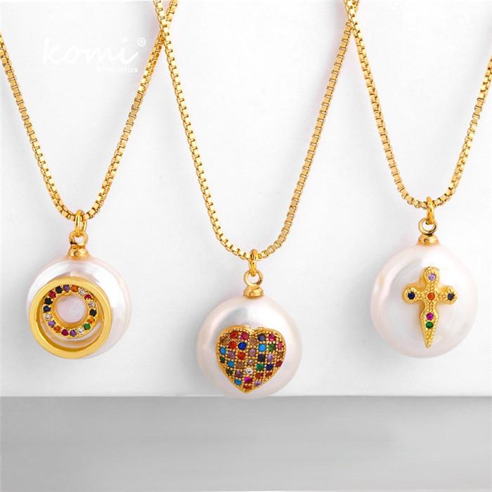 Natural Pearl Color Rhinestone Necklace