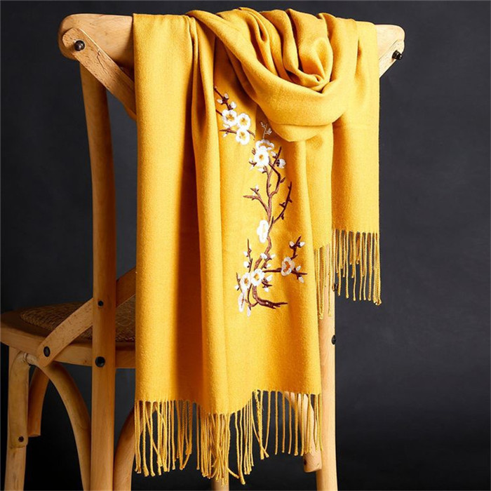 Flower Embroidery Cashmere Female Wraps Capes