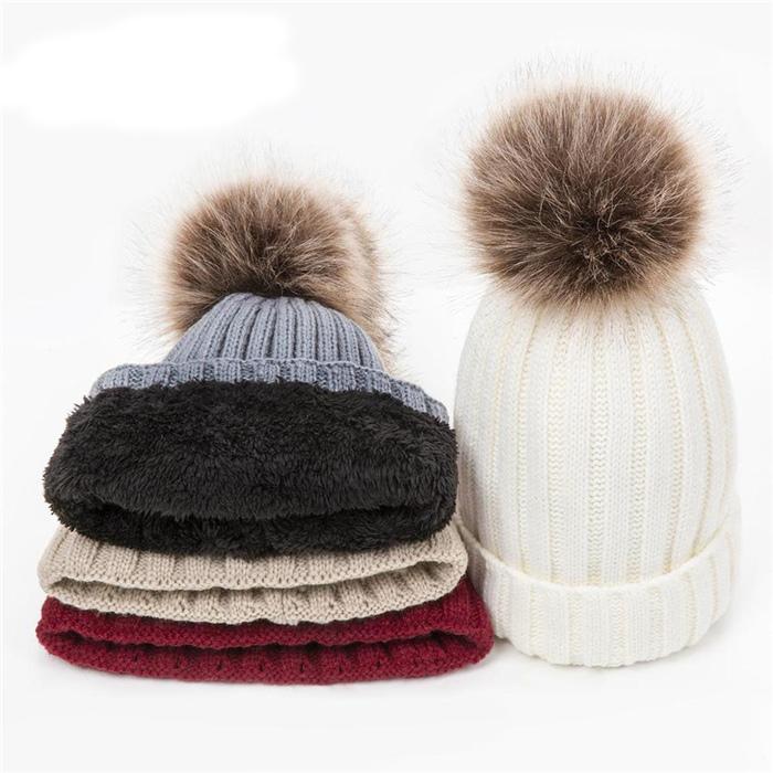 Warm Pompoms Hat Thick Women's Hats