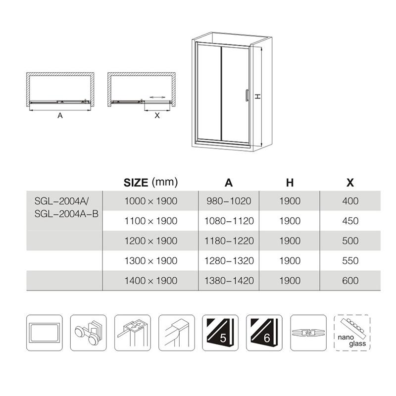 1200x1900mm shower doors