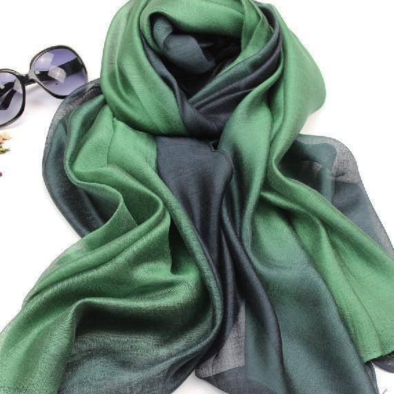 Gradients of silk scarves