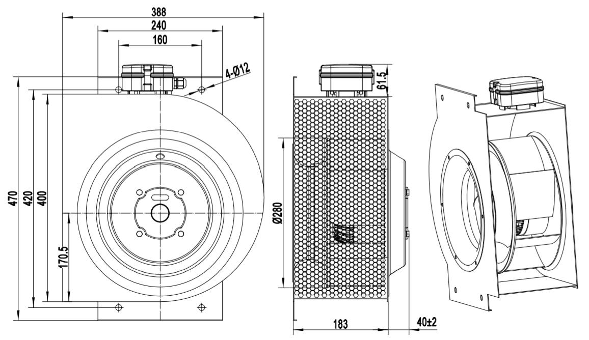 belt driven centrifugal blower fan
