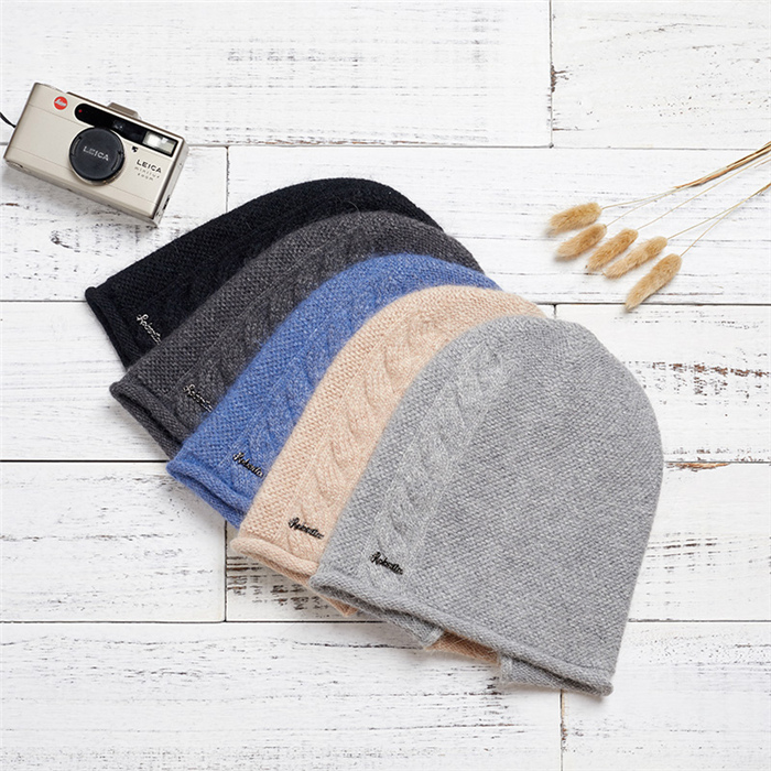 Female Rabbit Hair Wool Knitted Winter Hats