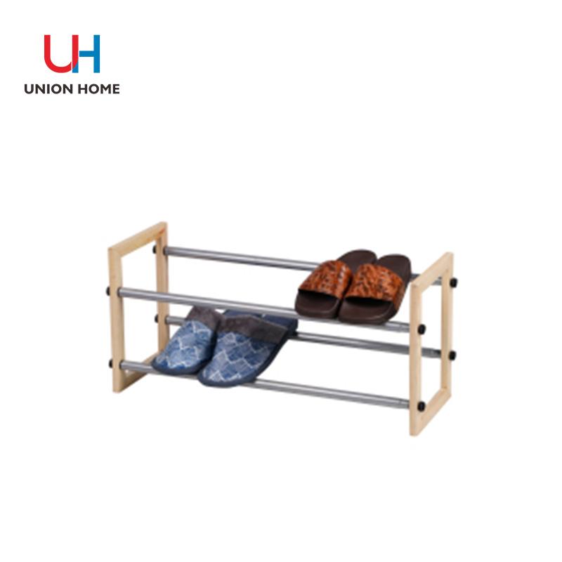 Iron tube 2 tier expandable shoe rack