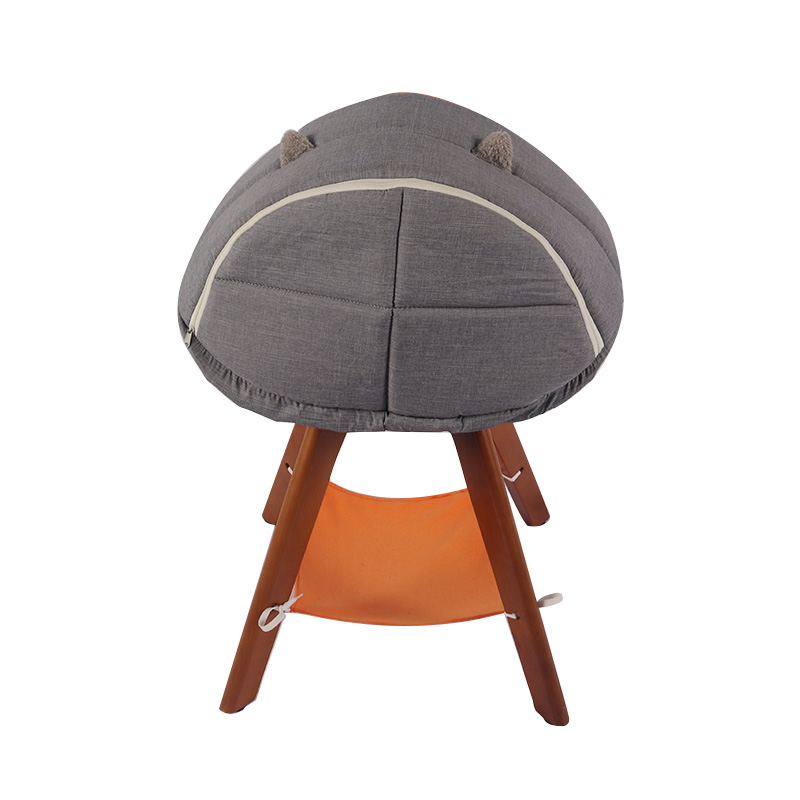 Semi-enclosed solid wood cat chair pet product
