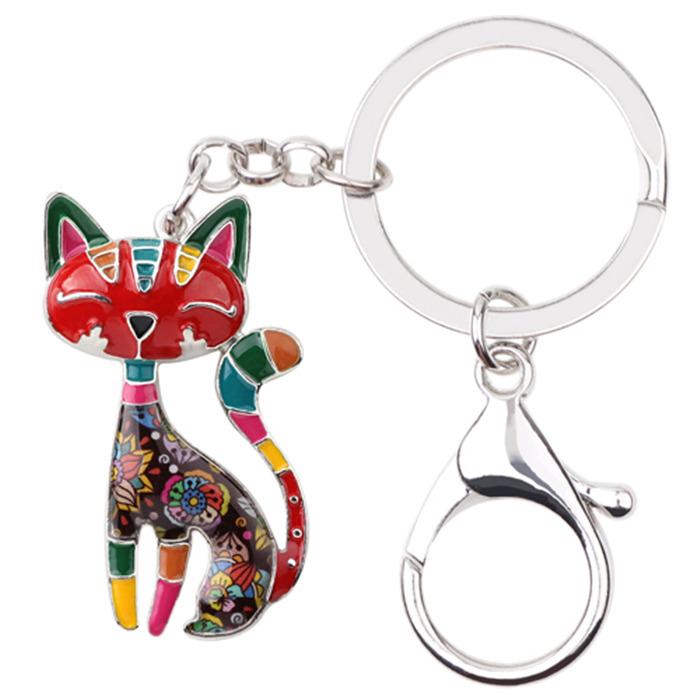 Metal Enamel Cat Kitten Key Chain