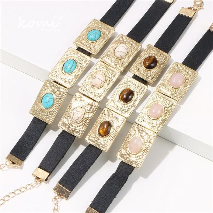 Inlaid Leather Rope Bracelet