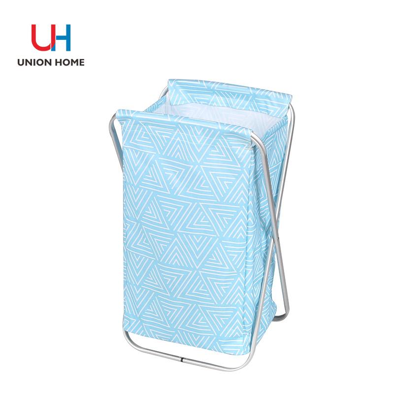 Leather handle laundry basket with alumium frame