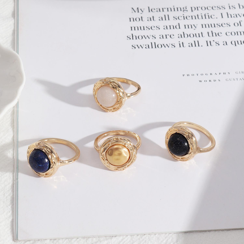 Natural Stone Inlay Rings