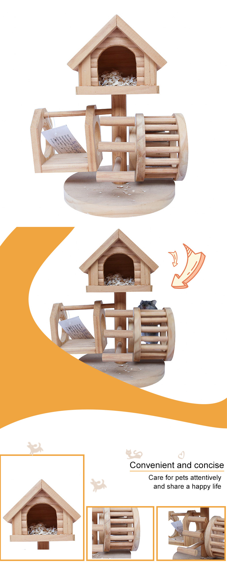 solid wood hamster jumping platform pet supplies