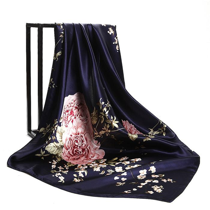 Floral Print Satin Silk Hijab Scarf