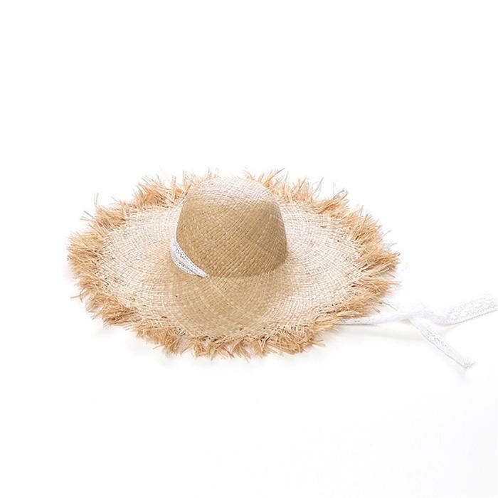 Lace strap straw hat