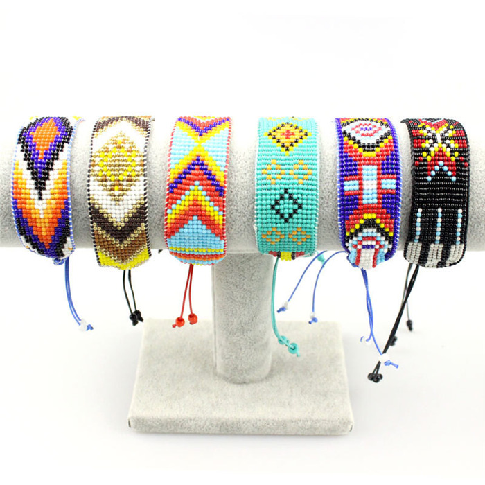 Multicolor Beads Woven Bracelets