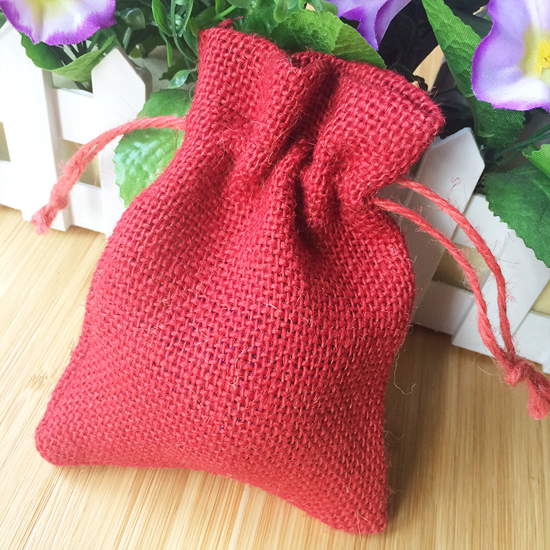 Natural jute fabric gift bag