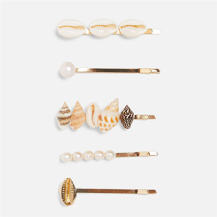 Shell Simulated Pearls Hair Clips