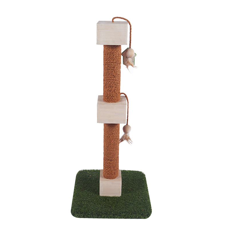 Self - hi solid wood cat toy turf base