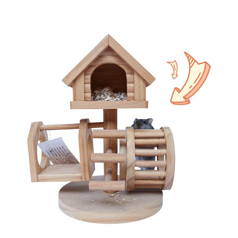 Solid wood hamster jumping platform