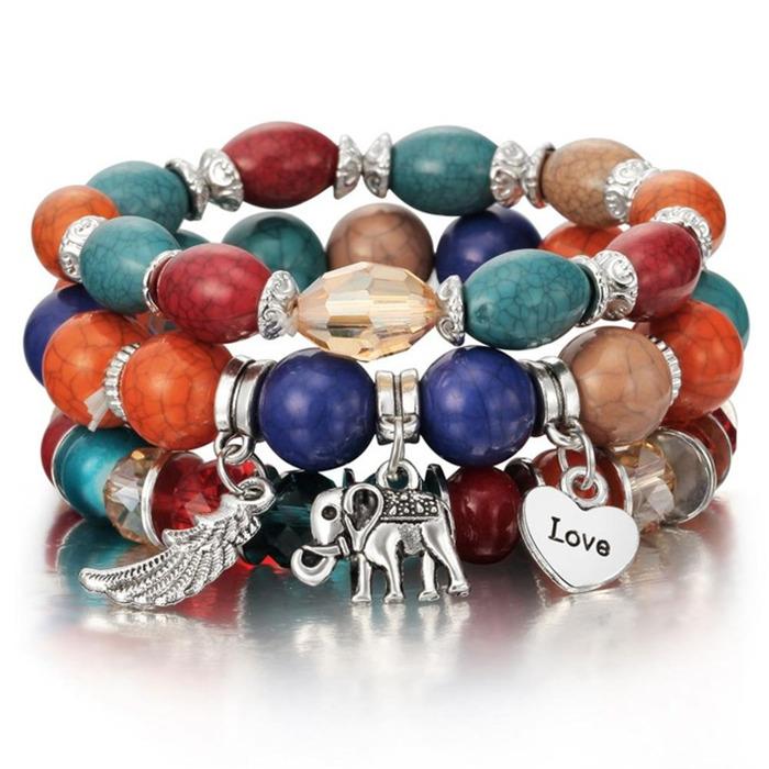 Colorful Gem Long Wrap Bracelet