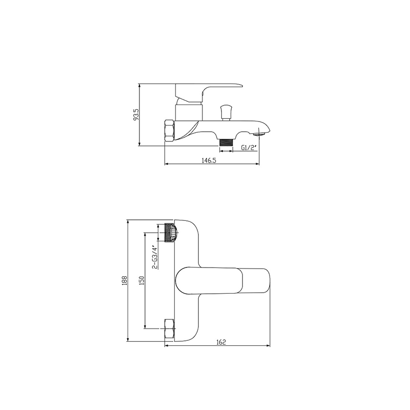 Bathroom Single Level Bath Mixer