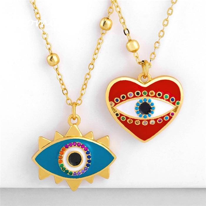 Simple Peach Heart Oil Drop Pendant Necklace