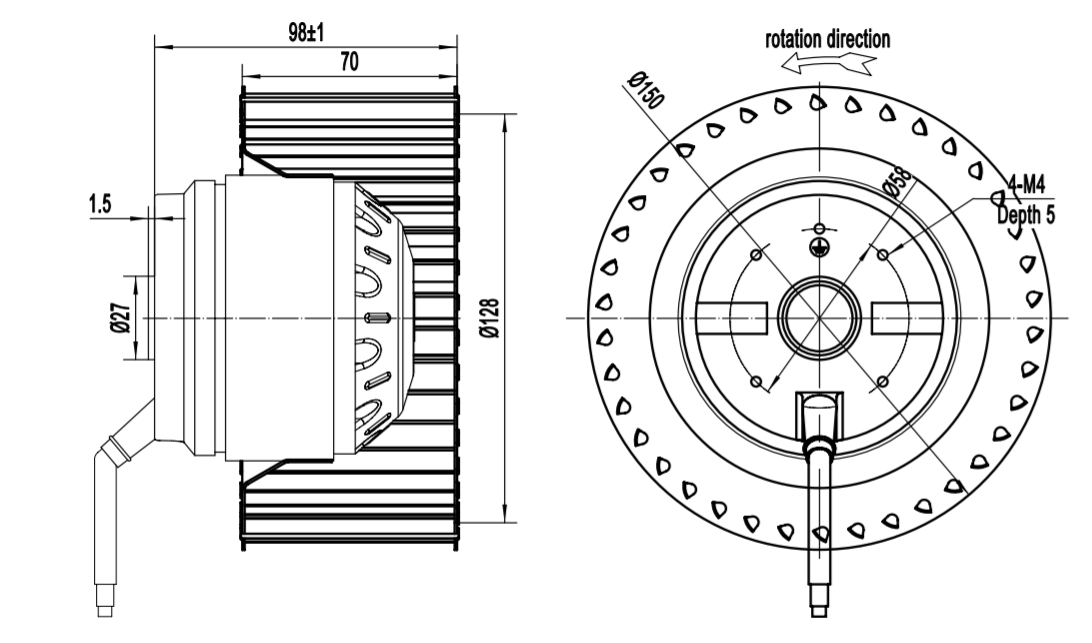 backward inclined centrifugal fan