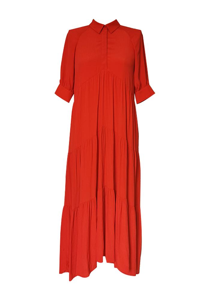Multi ruffle maxi dress