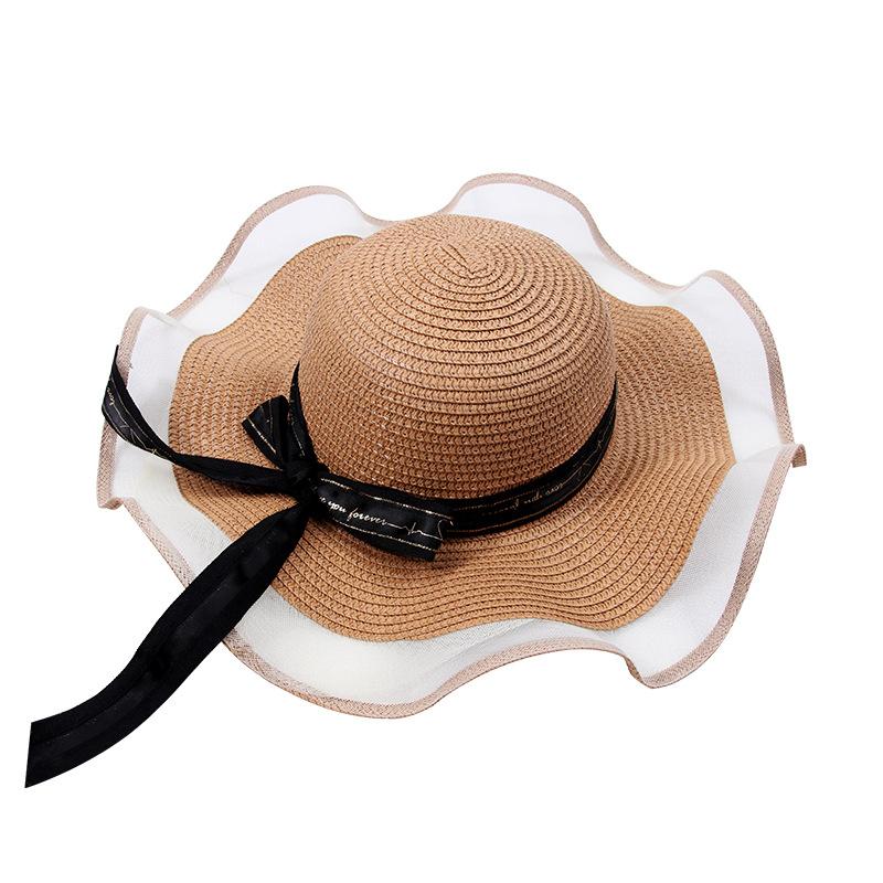 White gauze shade straw hat