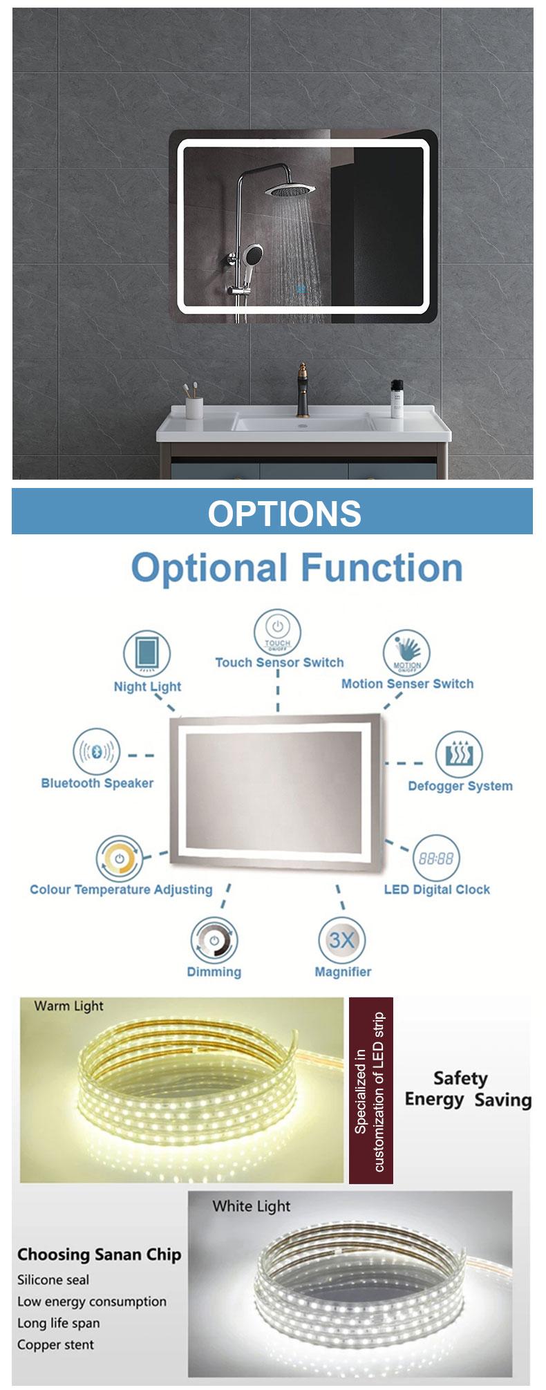 Bathroom LED mirror internal lighted manufacturers