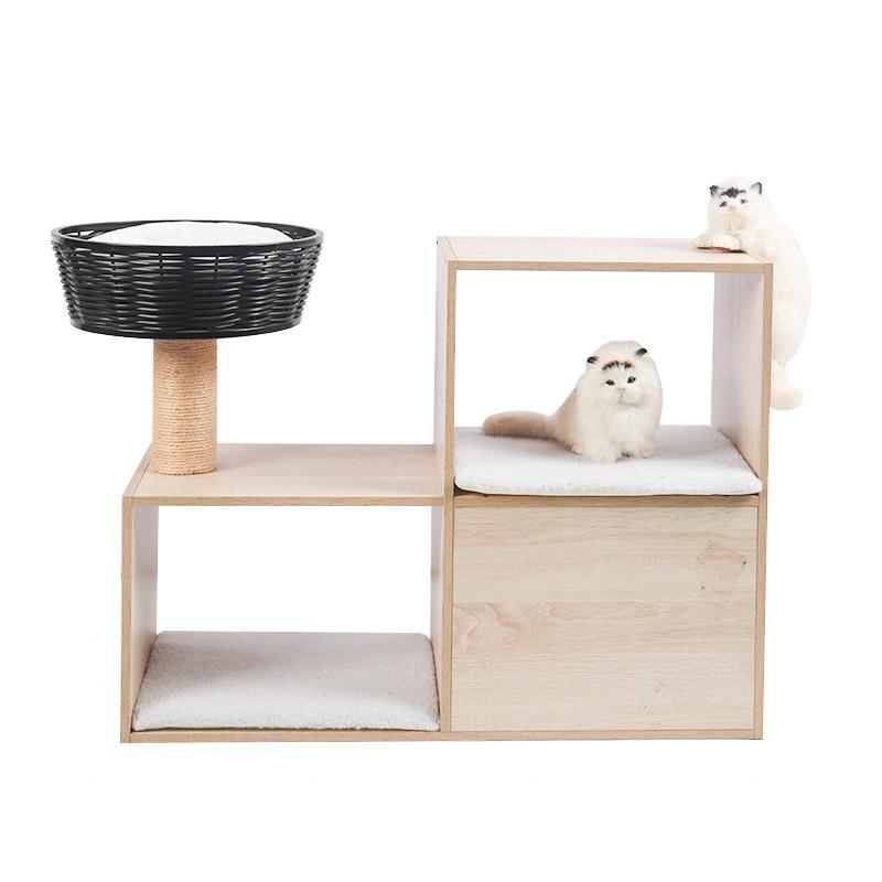Double - deck cat cabinet with rattan cat nest pet product