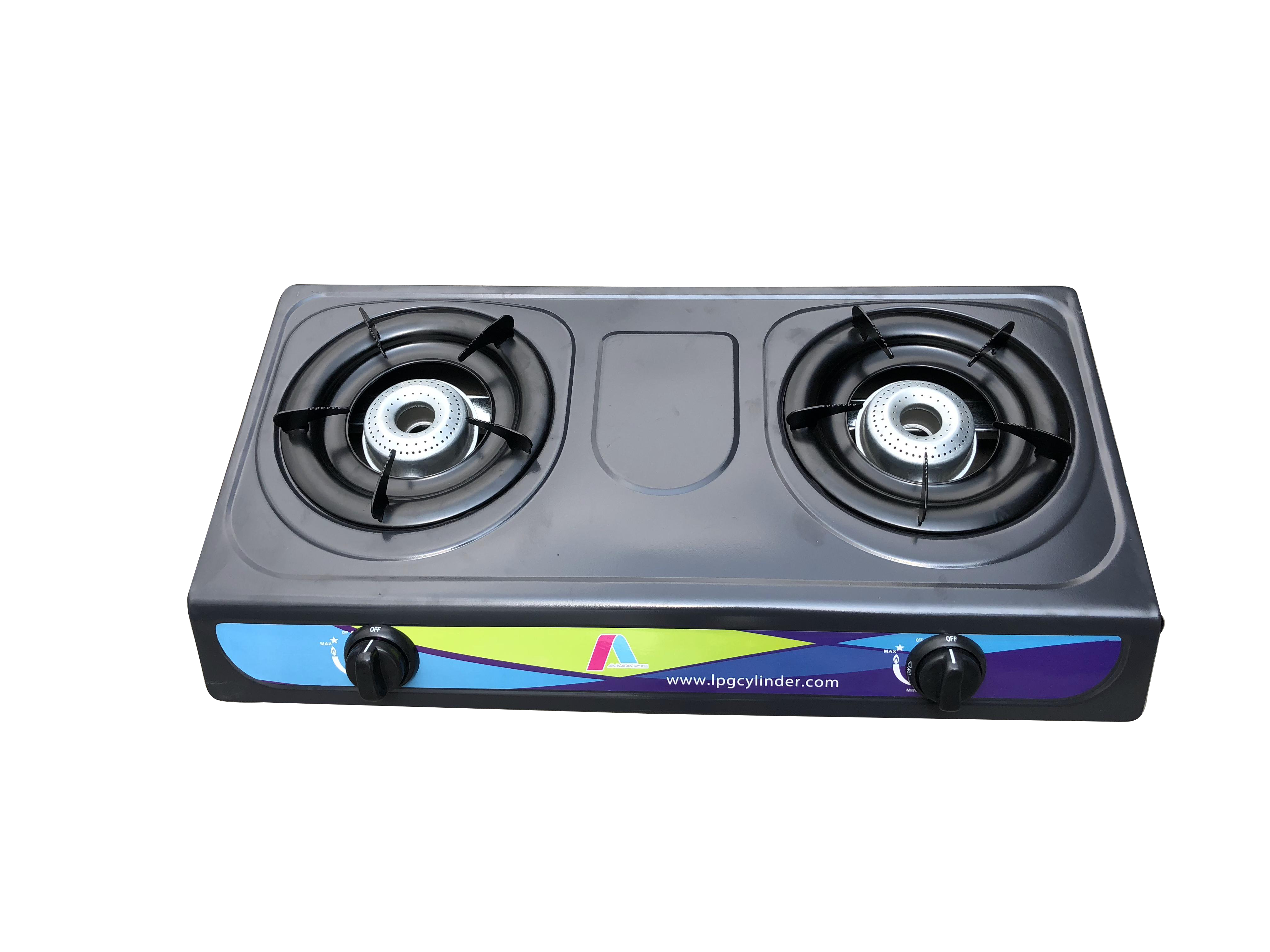 Gas stove with steel burner