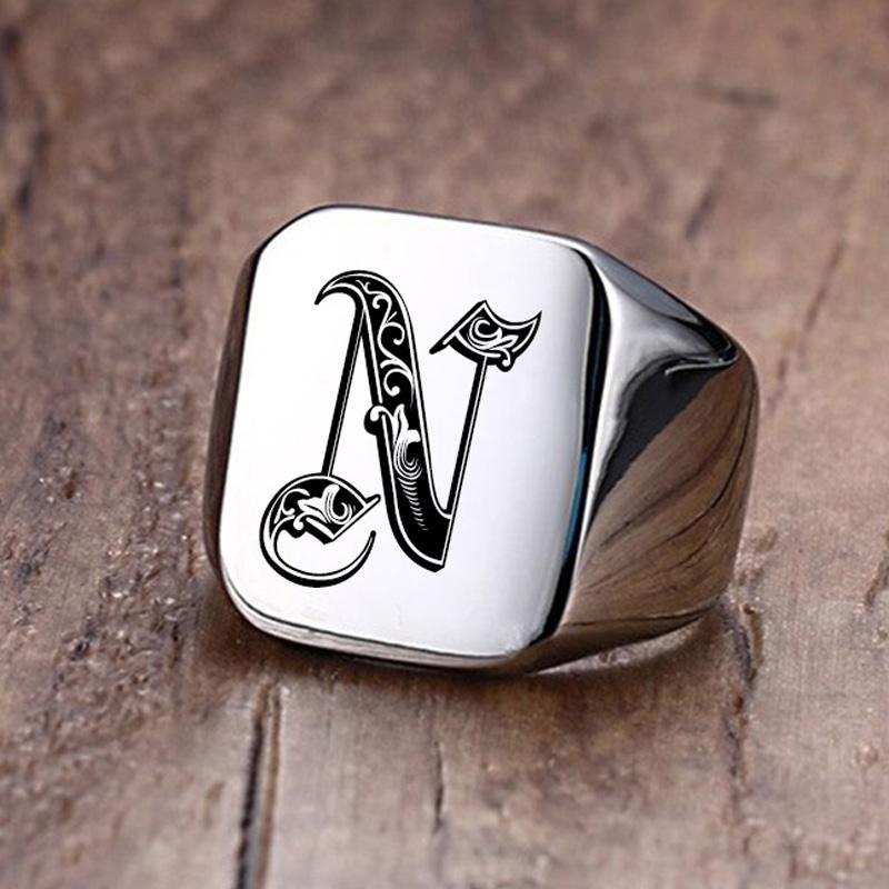 Retro Initials Signet Ring
