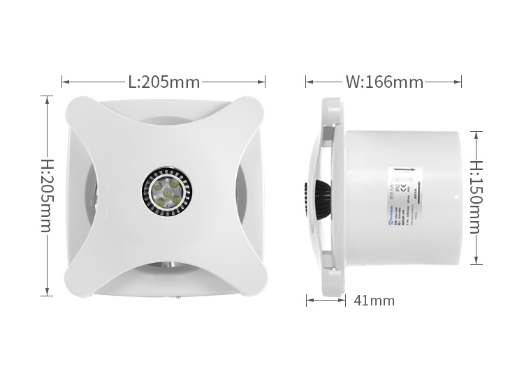 Ac Dc 6 Inch Air Inline Duct Extraction Fan with Humidity