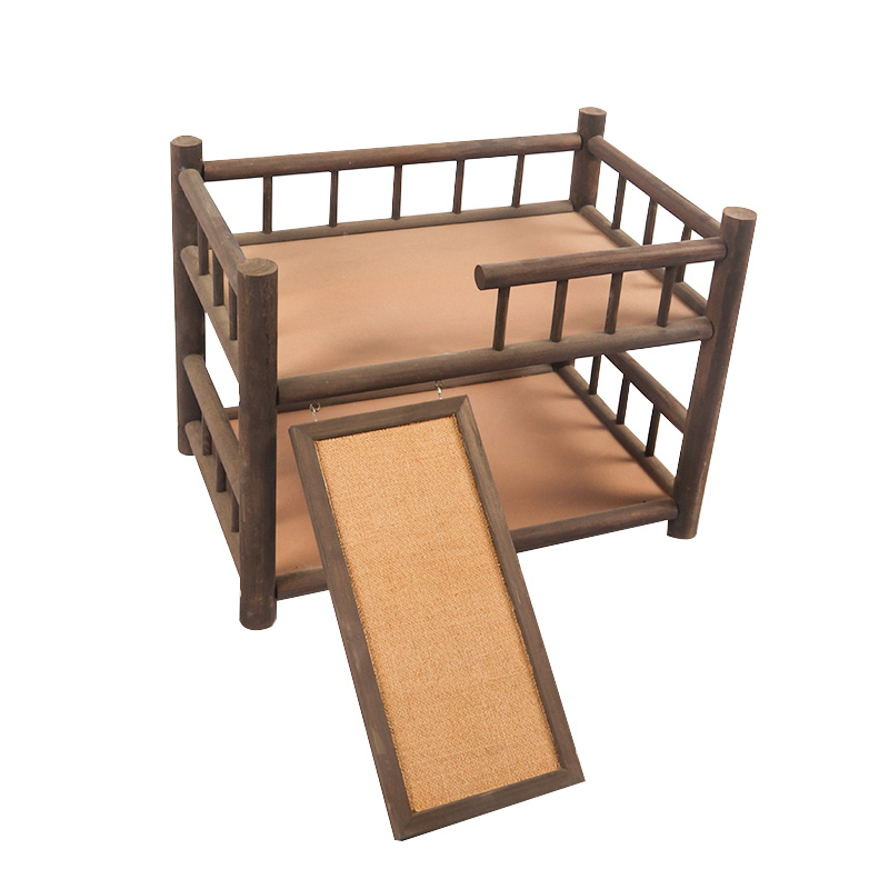 Double deck solid wood cat bed