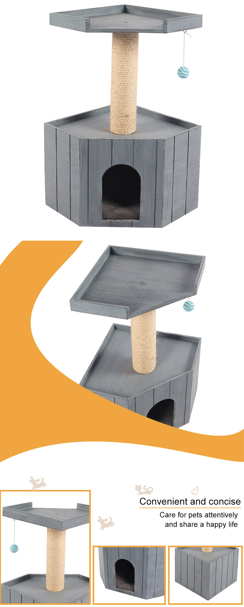 solid wood cat nest with platform pet supplies