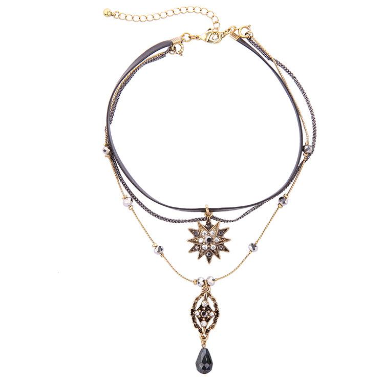 Multilayer choker necklace