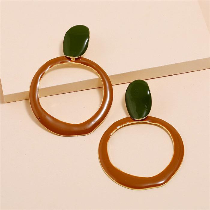 Morandi hollow circular earrings