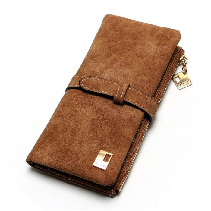 Drawstring Nubuck Leather Zipper Wallet