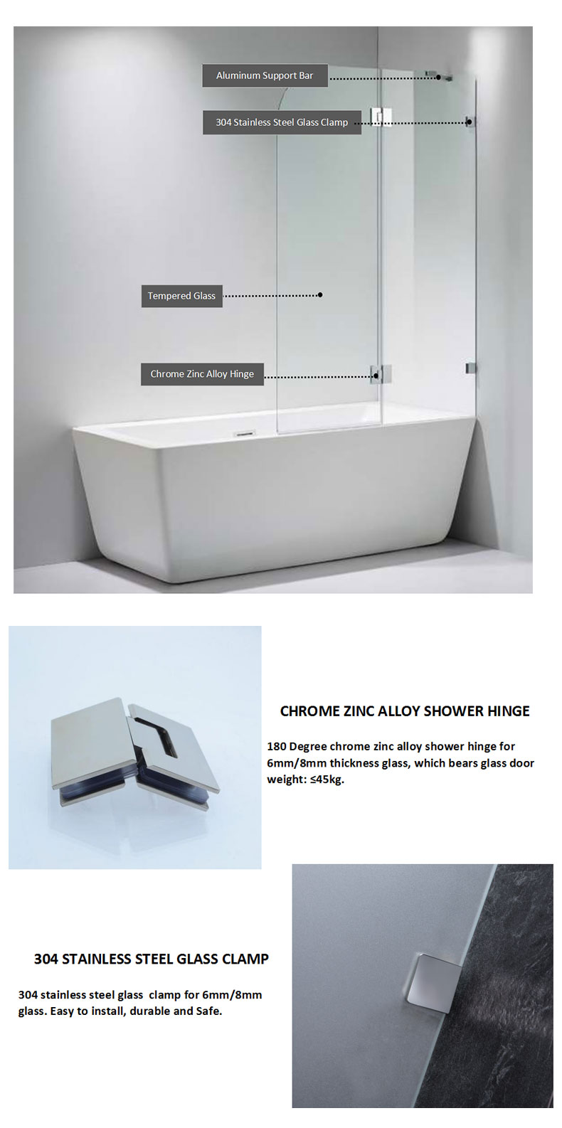 Frameless Bathtub Screen manufacturers