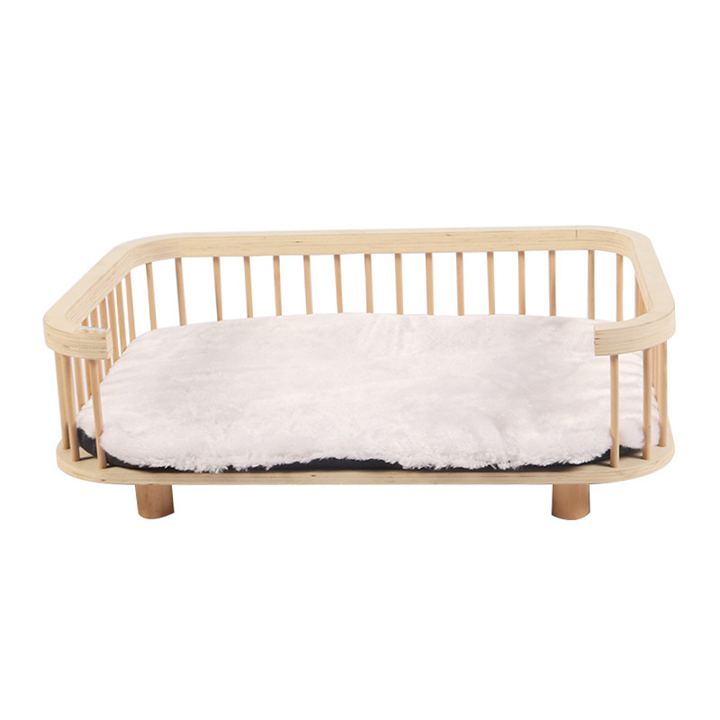 Solid wood cat bed with plush cushions pet product