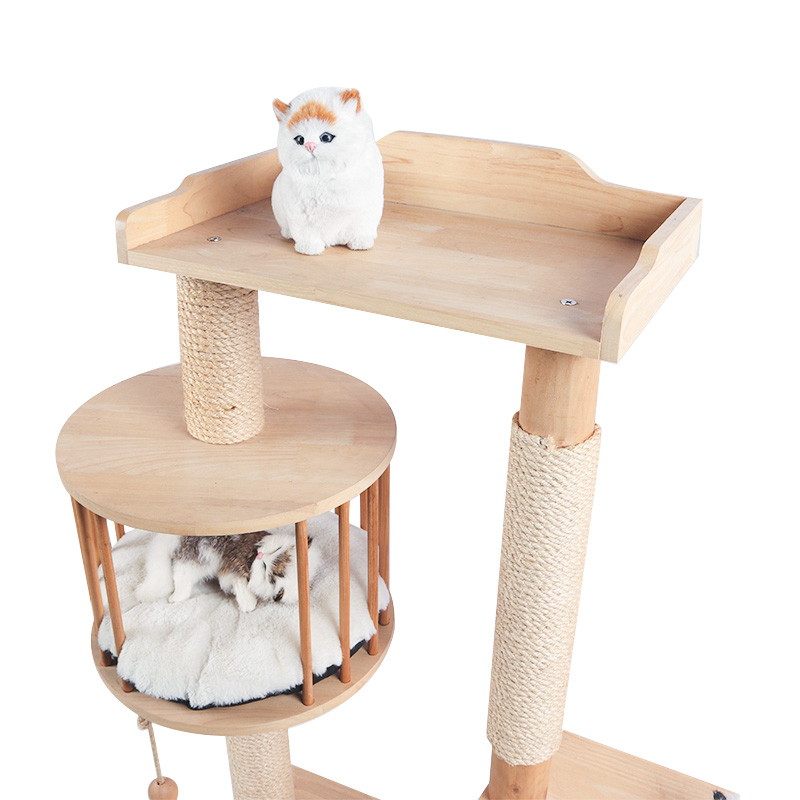 Solid wood multi-storey cat climbing frame with cat nest