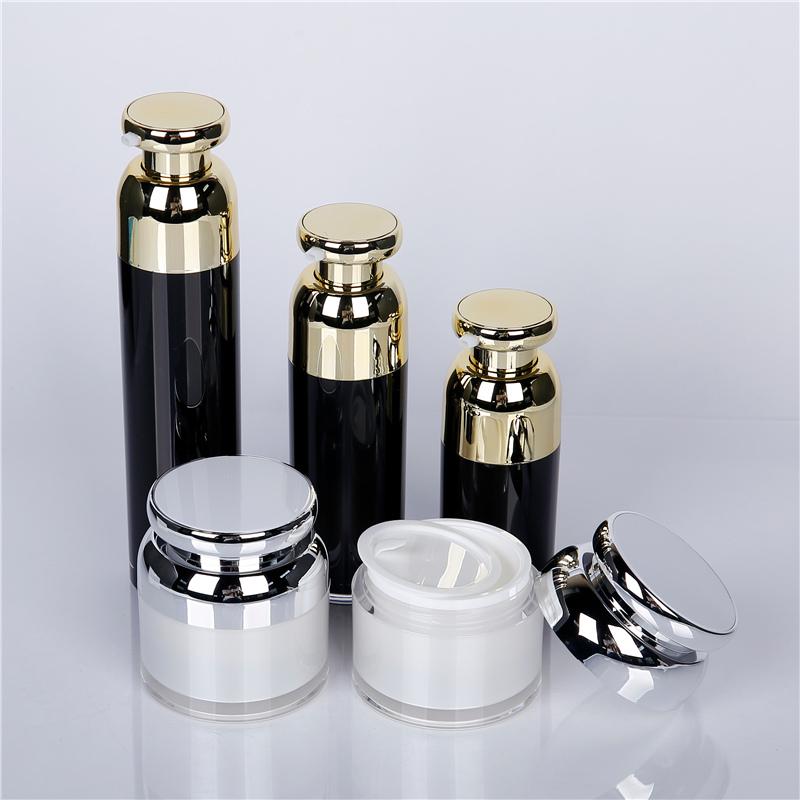 Black glass cosmetic bottle