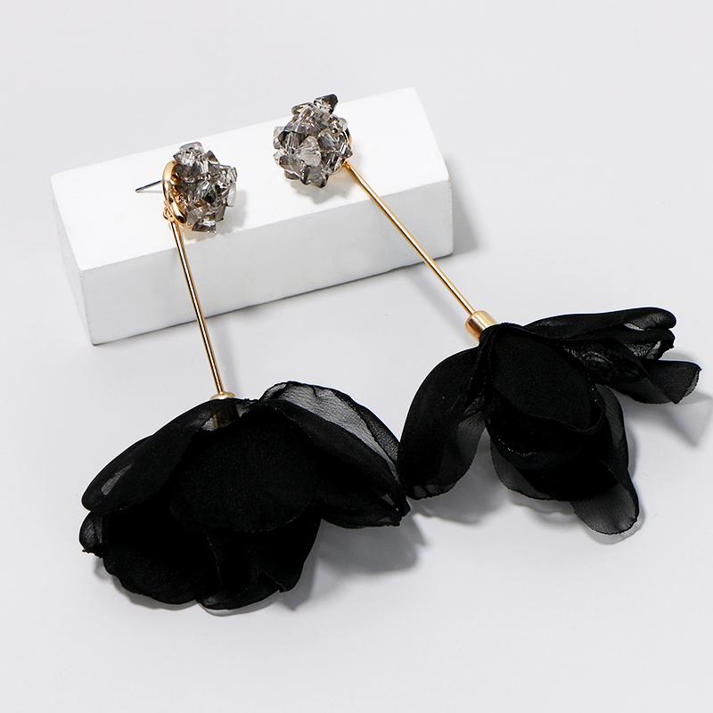 Ribbon Flower Dangle Earrings1