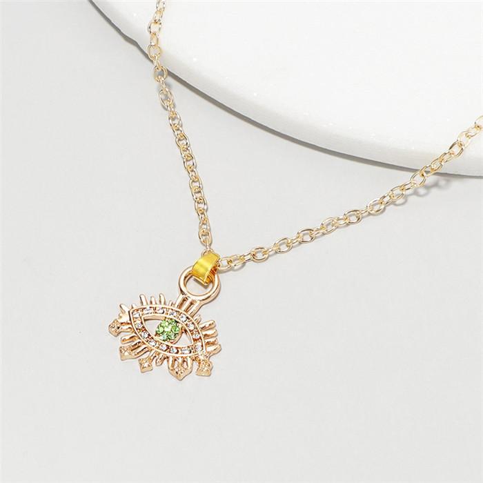 Boho Devil Eyes Rhinestone Crystal Pendant Necklace